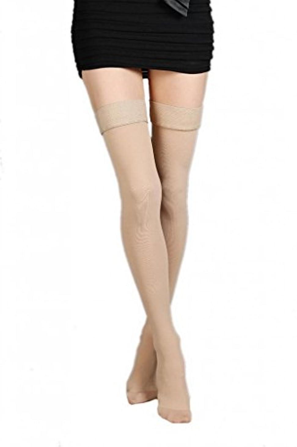検査カウントただ(ラボーグ)La Vogue 美脚 着圧オーバーニーソックス ハイソックス 靴下 弾性ストッキング つま先あり着圧ソックス M 1級低圧 肌色