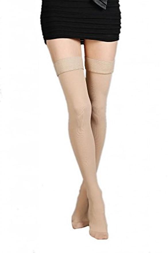 口ひげ擬人化女性(ラボーグ)La Vogue 美脚 着圧オーバーニーソックス ハイソックス 靴下 弾性ストッキング つま先あり着圧ソックス M 1級低圧 肌色
