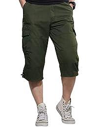 EASTEMPO カーゴパンツ メンズ パンツ 七分丈 綿 ハーフパンツ ミリタリー ズボン 無地 夏 大きいサイズ