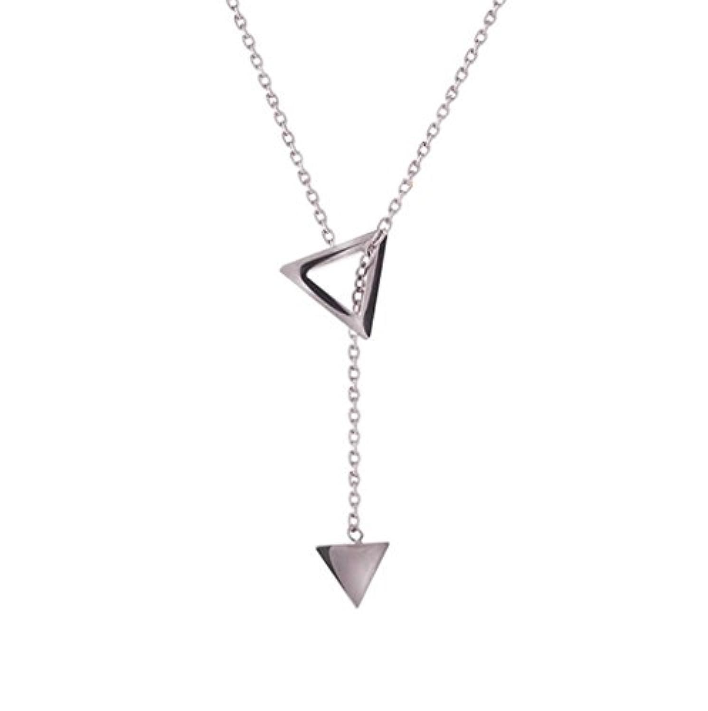 [比翼堂] レディース ネックレス ラリエット「 シンプル 三角形 」 純銀製 SL925 プラチナコーティ (シルバー) [ギフト梱包済] 【高級専用フランネルケース付】