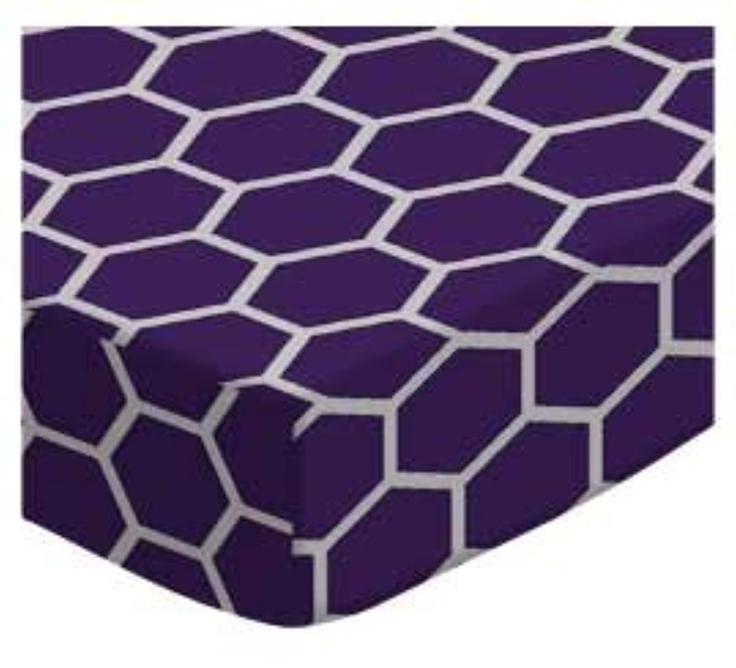 SheetWorld Fitted Cradle Sheet - Purple Honeycomb - Made In USA by sheetworld