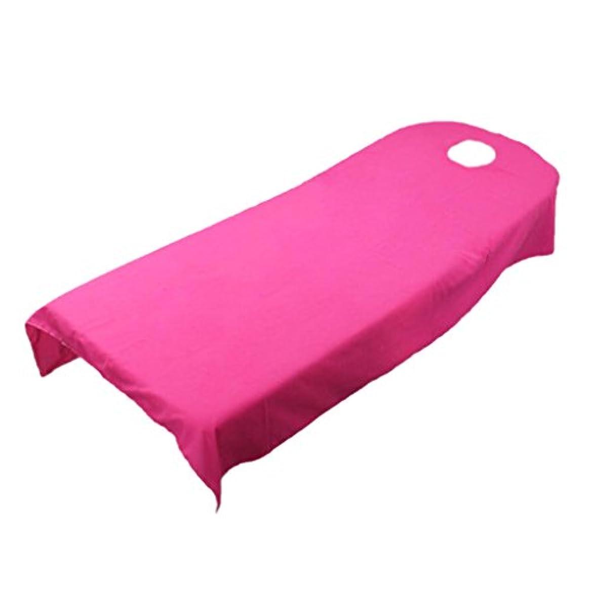 公式ピューのど柔らかい ベッドカバー シート ホール付き 美容/マッサージ/スパ専用 全9色可選 - ホトピンク