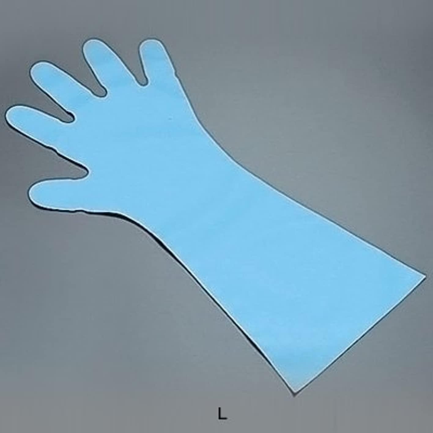 緑規定動物エンボス手袋 五本絞り ロング#50 (1袋50枚入) L 全長45cm <ブルー>