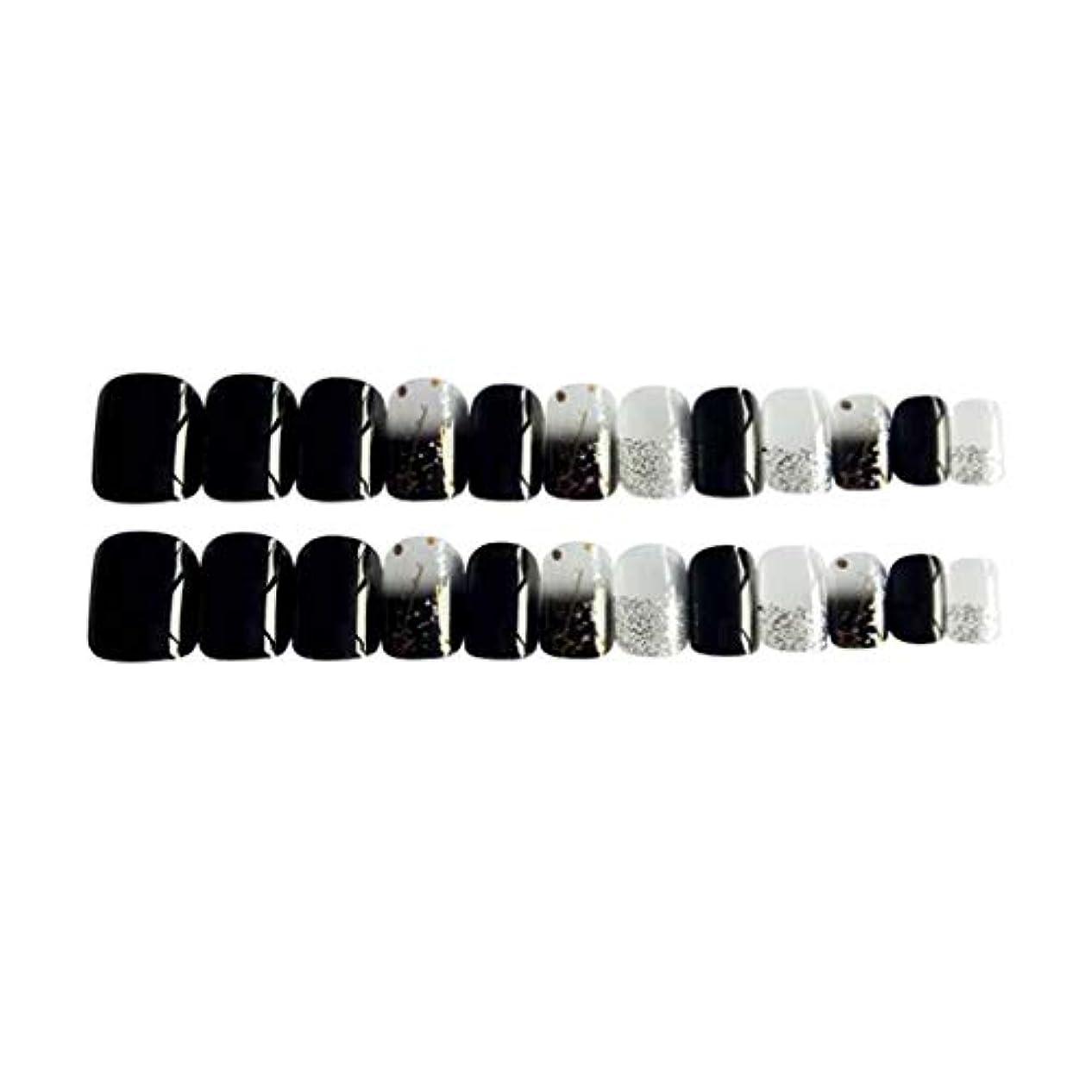 ほこりっぽいモチーフ空いているPerfeclan 約24個 つけ爪 ネイルチップ 長い爪 フルカバー 付け爪 手作りネイルチップ ブラック