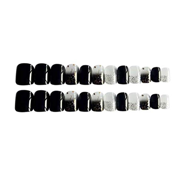 スキーアセンブリ閉塞Perfeclan 約24個 つけ爪 ネイルチップ 長い爪 フルカバー 付け爪 手作りネイルチップ ブラック