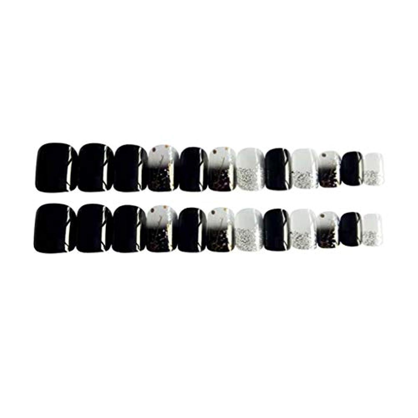 英語の授業があります株式系譜Perfeclan 約24個 つけ爪 ネイルチップ 長い爪 フルカバー 付け爪 手作りネイルチップ ブラック