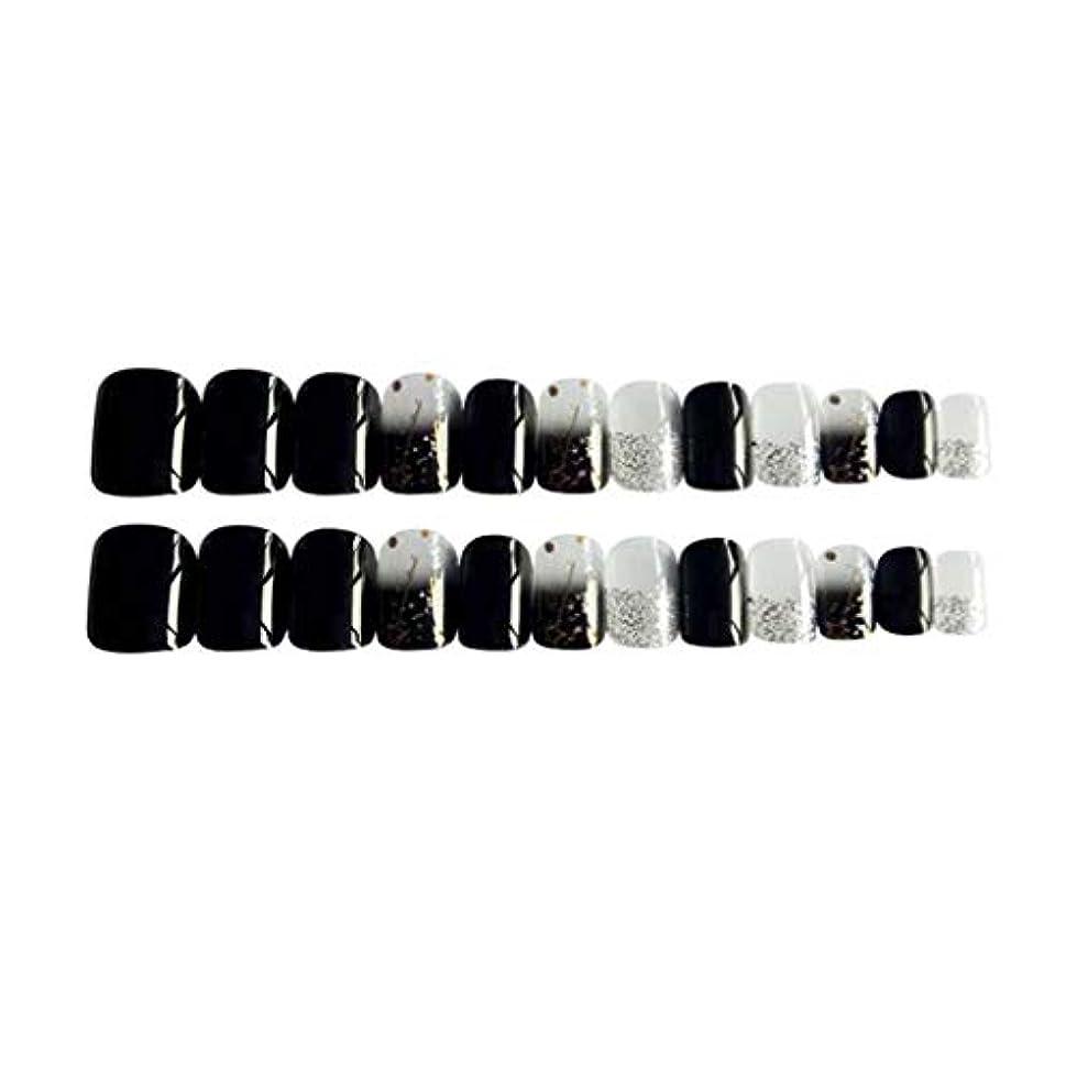 不毛の反響する煩わしいPerfeclan 約24個 つけ爪 ネイルチップ 長い爪 フルカバー 付け爪 手作りネイルチップ ブラック