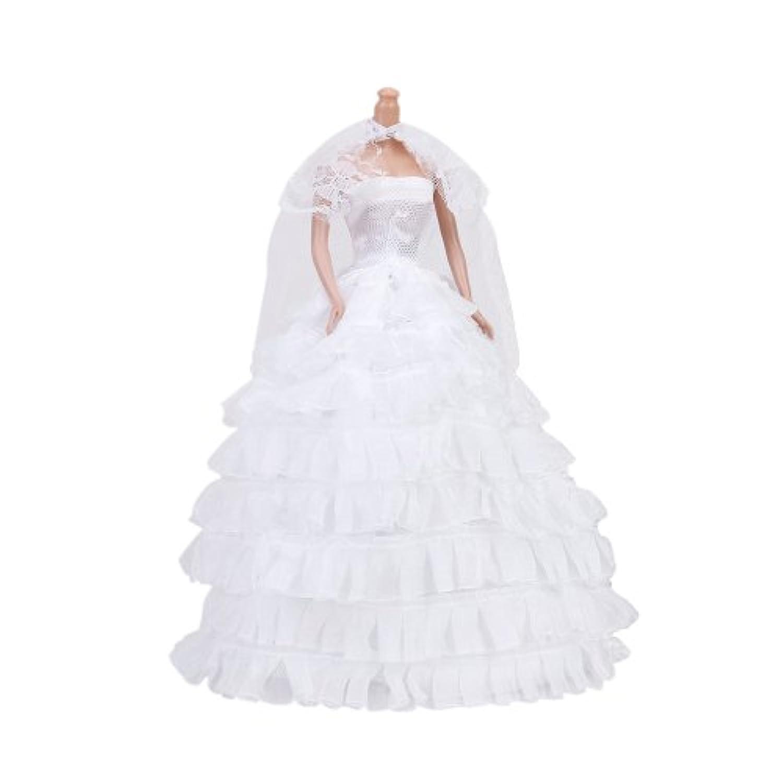 ドール用 人形用 ウェディングドレス ドレス ベール 手袋 ホワイト アクセサリー