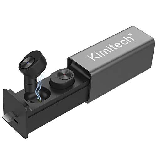 Kimitech 完全ワイヤレスイヤホン 左右分離型 片耳 両耳とも対応 高音質 スポーツ マイク内蔵 充電式収納ケース 自動ペアリング タッチ式 iPhone Android 対応 ブラック