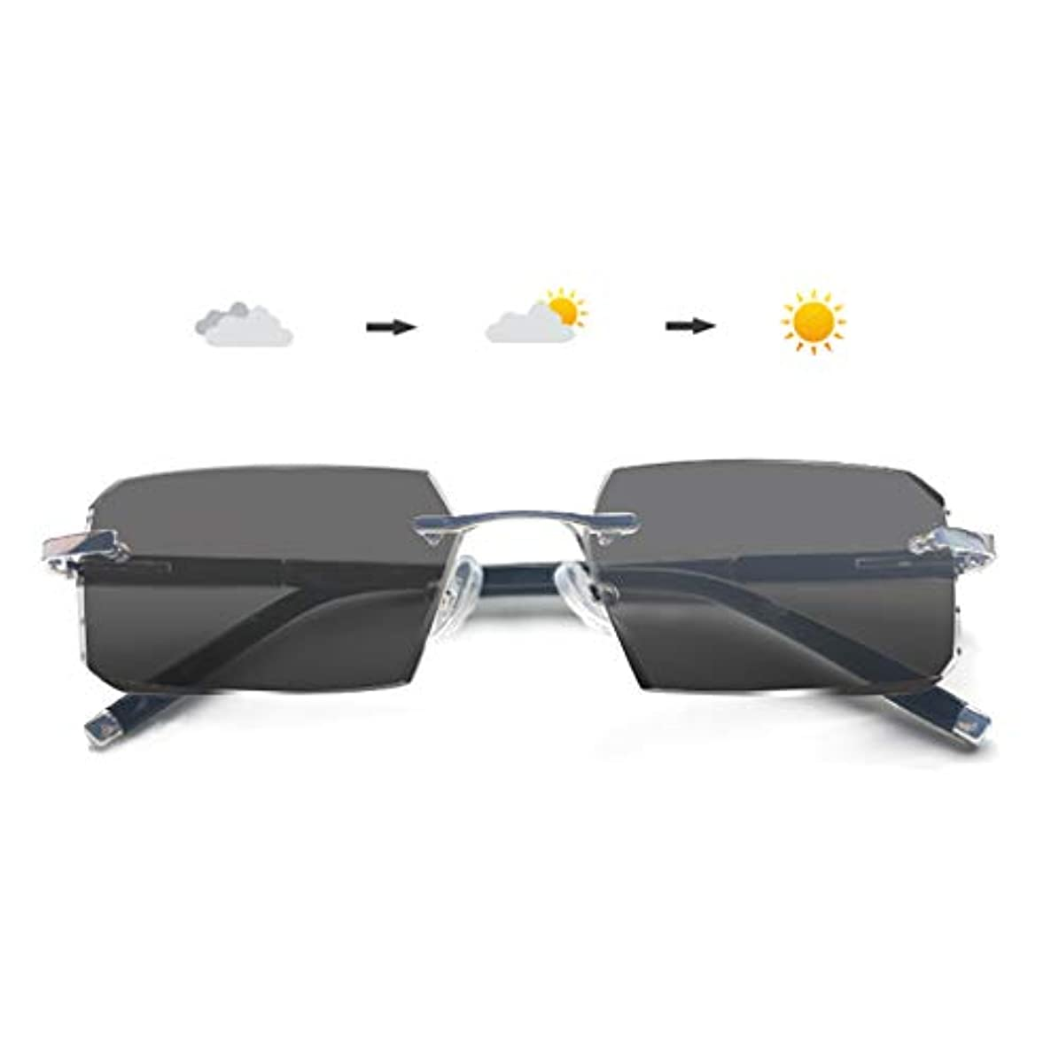 厚くするかりて実用的男性と女性のための老眼鏡、フォトクロミック老眼鏡、ダイヤモンドのトリミングフレームレス抗疲労高齢者の読書虫眼鏡(+1.0から+3.0)