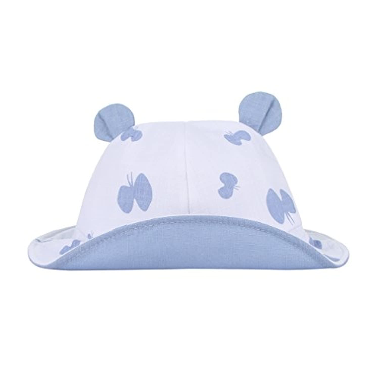 pekabo ベビー ハット 女の子 帽子 クマ耳付き 紐 サンバイザーハット 新生児 赤ちゃんキャップ 幼児 (ブルー)