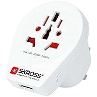 SKROSS マルチ対応 電源コンセント 変換アダプター 変換プラグ イギリス・香港標準コンセント対応 アース付 USBポート World to UK USB