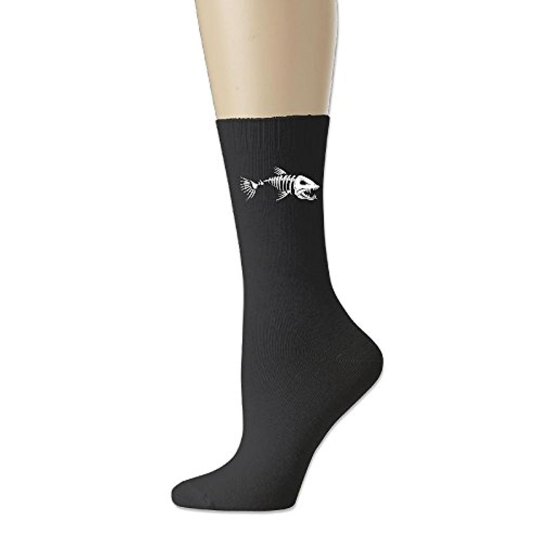 ソフト 靴下 アンクルソックス ボーン フィッシュ 魚 プリント フットサポート付き クルーソックス スポーツ 丈夫 Ash