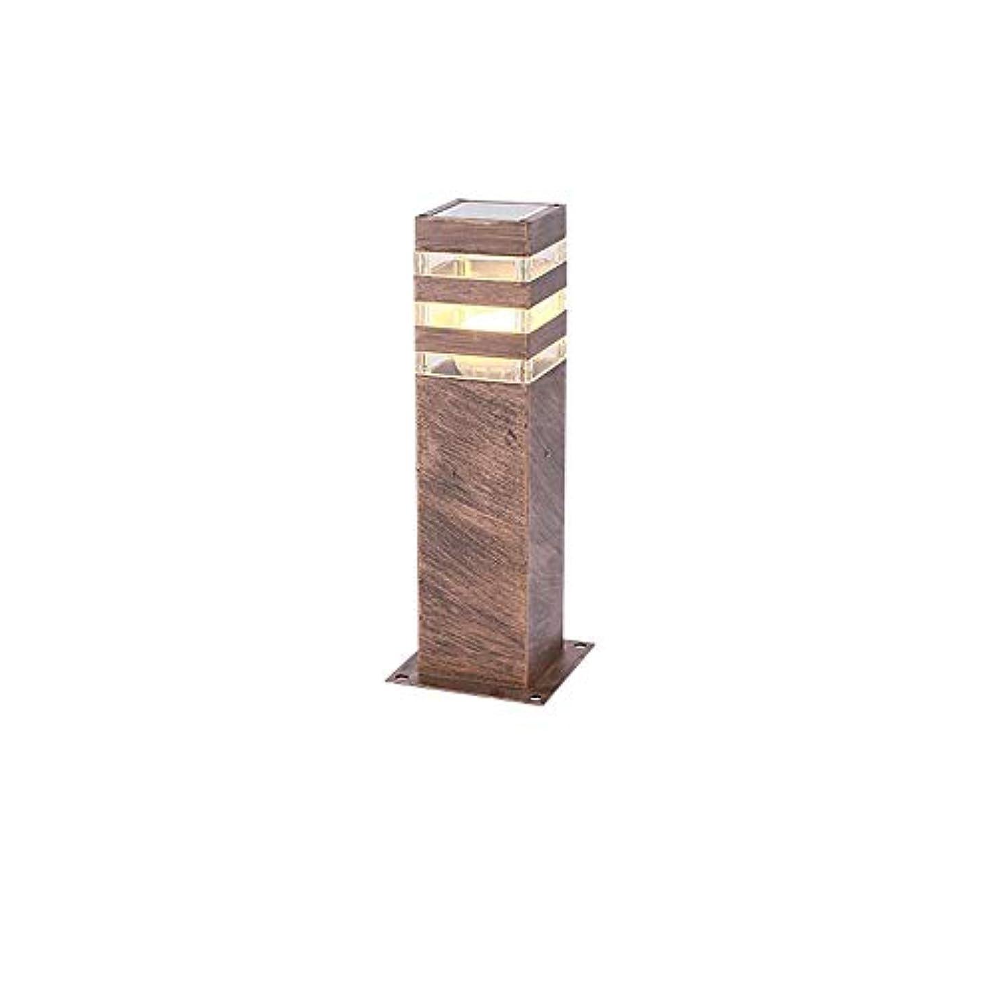 落胆する与えるアンビエントPinjeer E27屋外ガーデン芝生ライトIP55防水pvcピラーライトヨーロッパヴィンテージスクエアメタルアルミポストライト中庭風景コミュニティヴィラ装飾コラムランプ (Color : Brass)