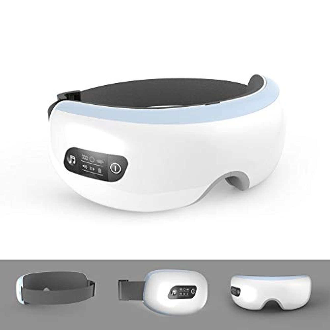 怒る名門ラフアイマッサージャープレッシャー付アイマッサージャー振動マッサージミュージック赤外線温熱療法ポータブル機能アイバッグを排除、アイ磁気遠赤外線加熱ケア