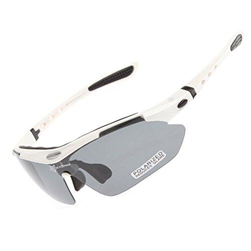 【ROCKBROS】 スポーツサングラス ゴーグル 偏光サイクリングバイクメガネ レンズ5枚 収納バック付き  ホワイト CS011