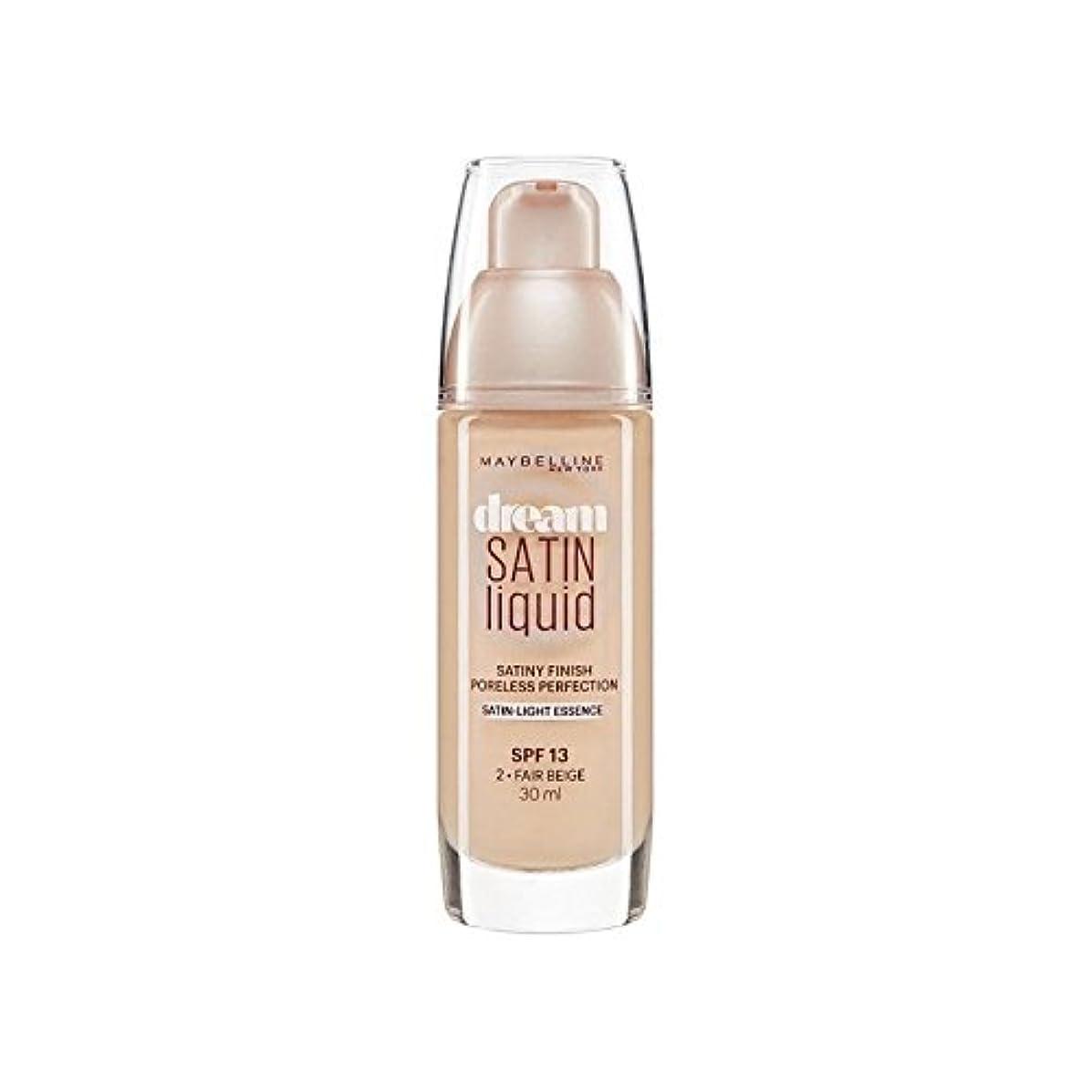 イヤホン論文遠洋のMaybelline Dream Satin Liquid Foundation 02 Fair Beige 30ml (Pack of 6) - メイベリン夢サテンリキッドファンデーション02フェアベージュ30ミリリットル...