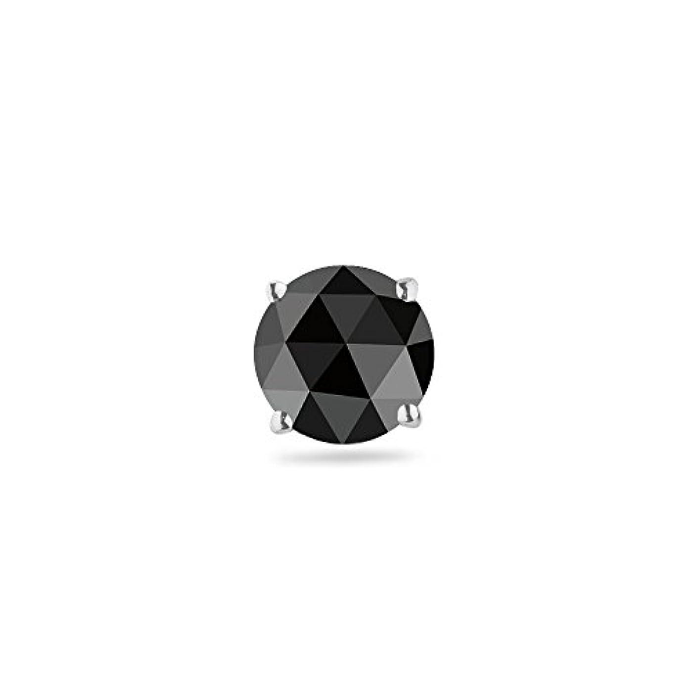 圧力活発表現Holiday Deal on 0.31 – 0.38 CTSの4.40 – 5.40 MMブラックダイヤモンドメンズスタッドイヤリング18 Kホワイトゴールド