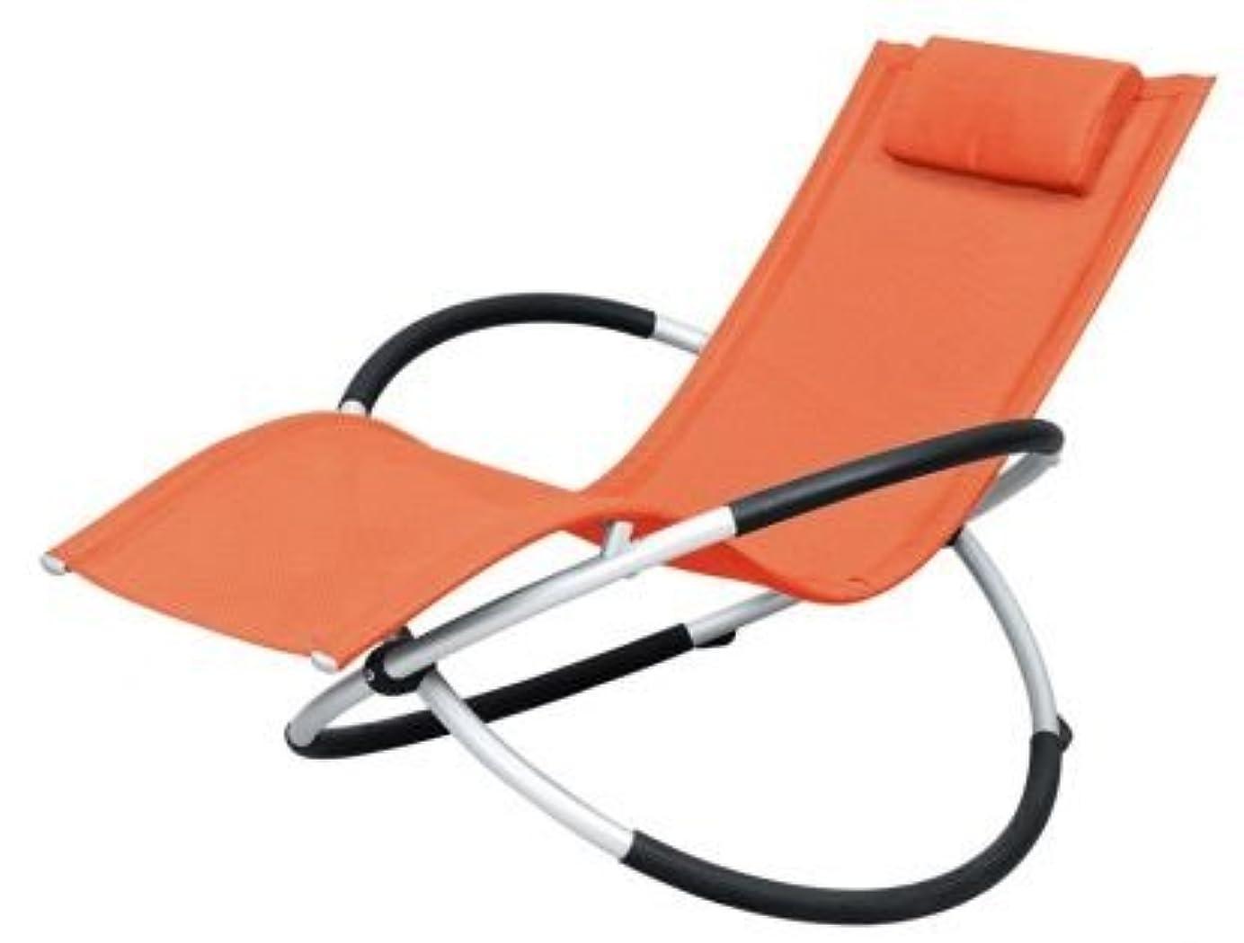あいまい構成する疑いアウトドア!椅子 折りたたみ幅約25cm!憧れのロッキング チェアー バーベキュー ベランダ海 プール に! オレンジ