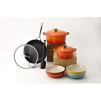 【Amazon.co.jp 限定】ル・クルーゼ ホーロー鍋 オレンジ 18cm 24cmとフライパンとプレート セット IH対応 9点入