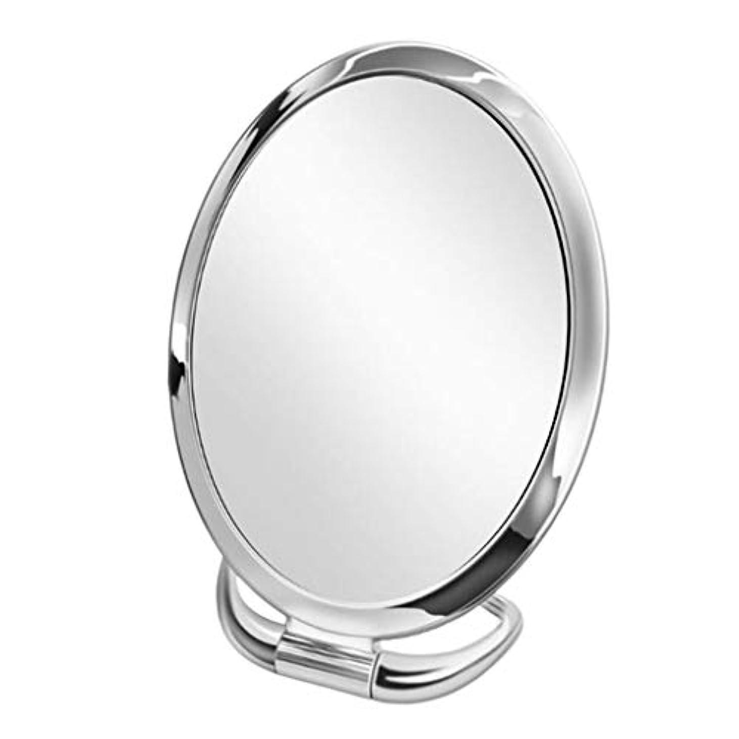 万一に備えて出席音声学化粧鏡 化粧ミラー 鏡 両面鏡 卓上 女優 拡大鏡 3倍 折りたたみ 角度調整可能 収納便利 全9種類 - スライバーオーバル