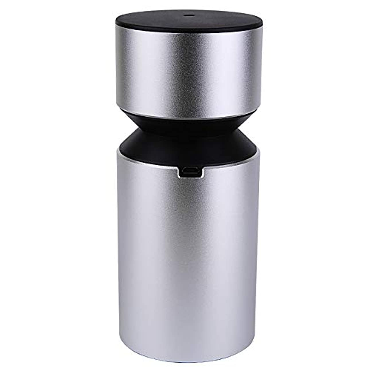 リズム脱走相対的アロマディフューザー 車載用 ネブライザー式 充電式 静音 精油瓶1個スポイト付きT11-ENS068N (シルバー)