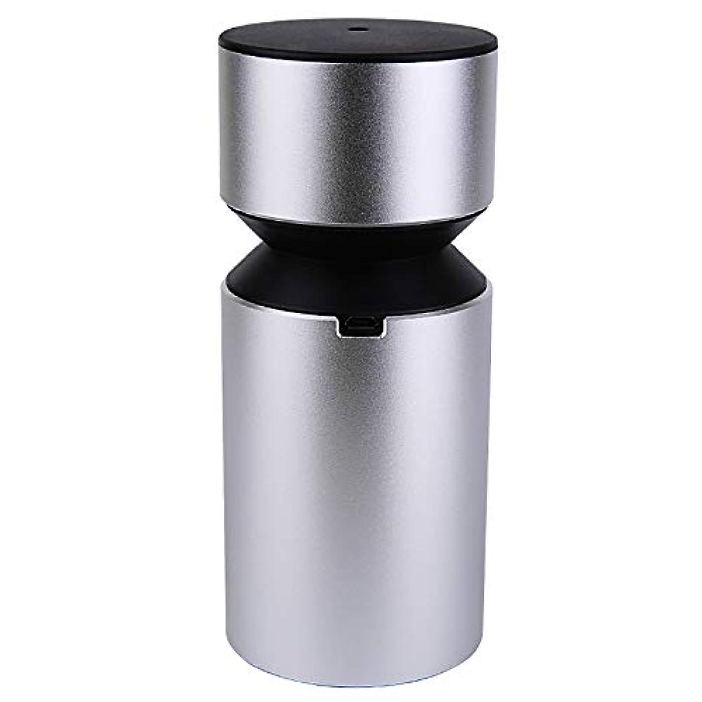 乳剤創始者音楽家アロマディフューザー 車載用 ネブライザー式 充電式 静音 精油瓶1個スポイト付きT11-ENS068N (シルバー)