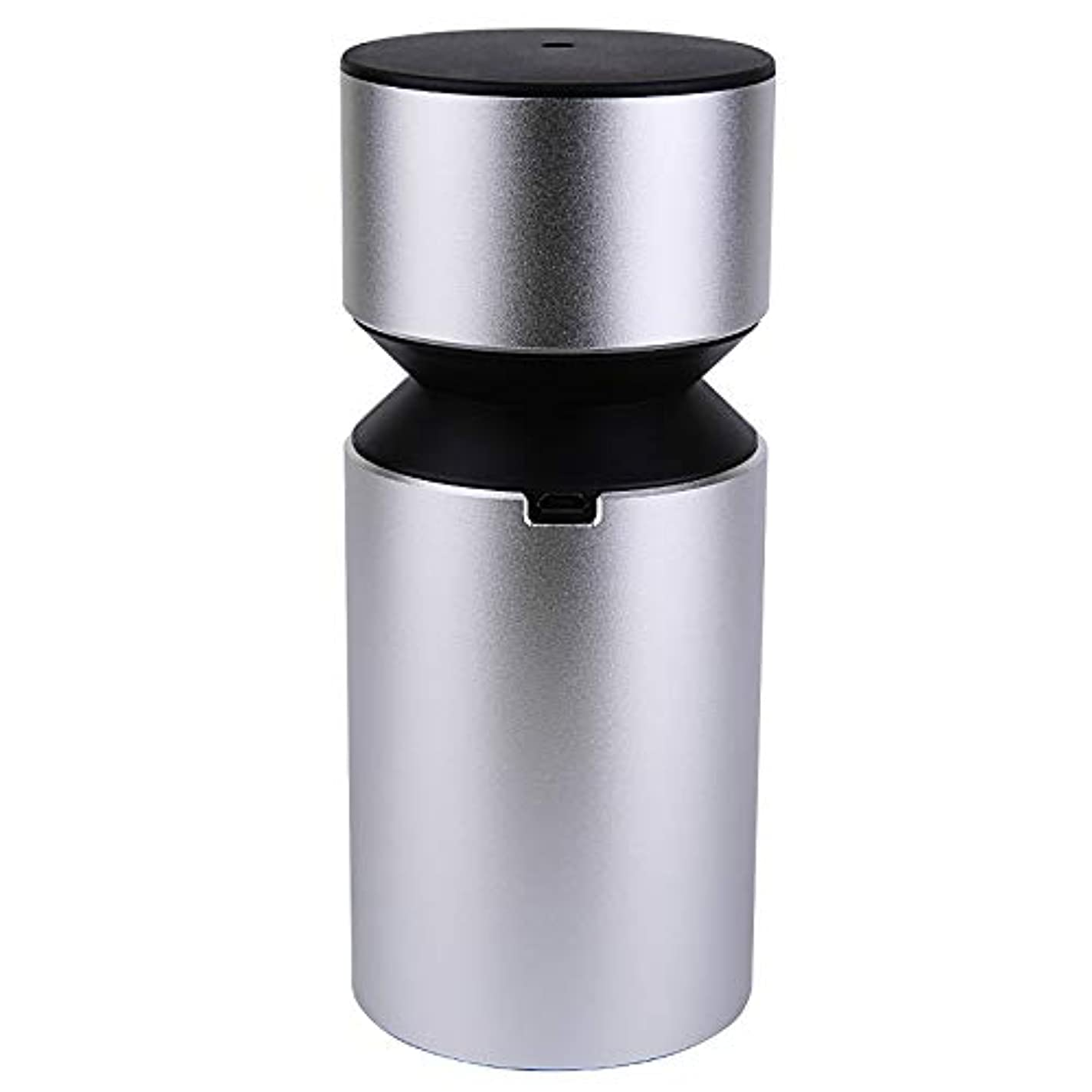 投資山大きさアロマディフューザー 車載用 ネブライザー式 充電式 静音 精油瓶1個スポイト付きT11-ENS068N (シルバー)