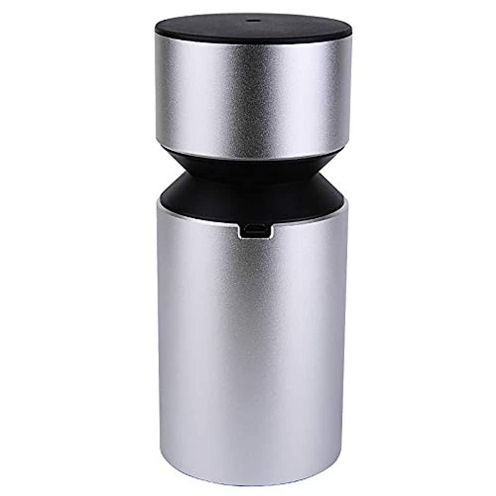 平衡中で回転させるアロマディフューザー 車載用 ネブライザー式 充電式 静音 精油瓶1個スポイト付きT11-ENS068N (シルバー)