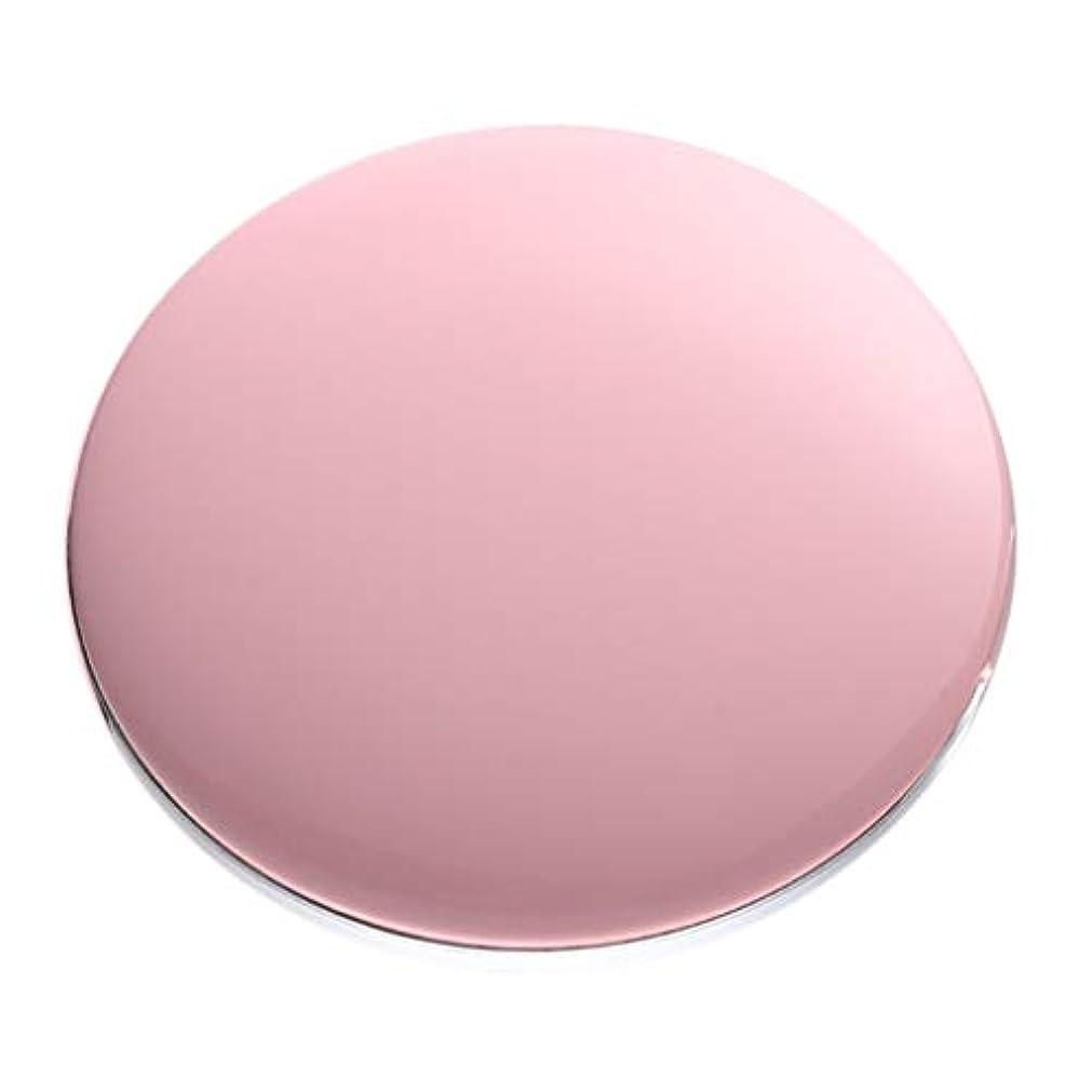 ストライプすみませんゴールド両面コンパクトミラー 拡大鏡付き手鏡 LEDミラー 女優ミラー 3倍拡大 折りたたみ式 充電 全5色 - ピンク