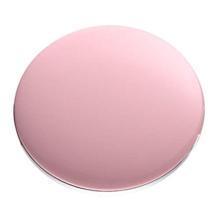 バッジ預言者穿孔する両面コンパクトミラー 拡大鏡付き手鏡 LEDミラー 女優ミラー 3倍拡大 折りたたみ式 充電 全5色 - ピンク