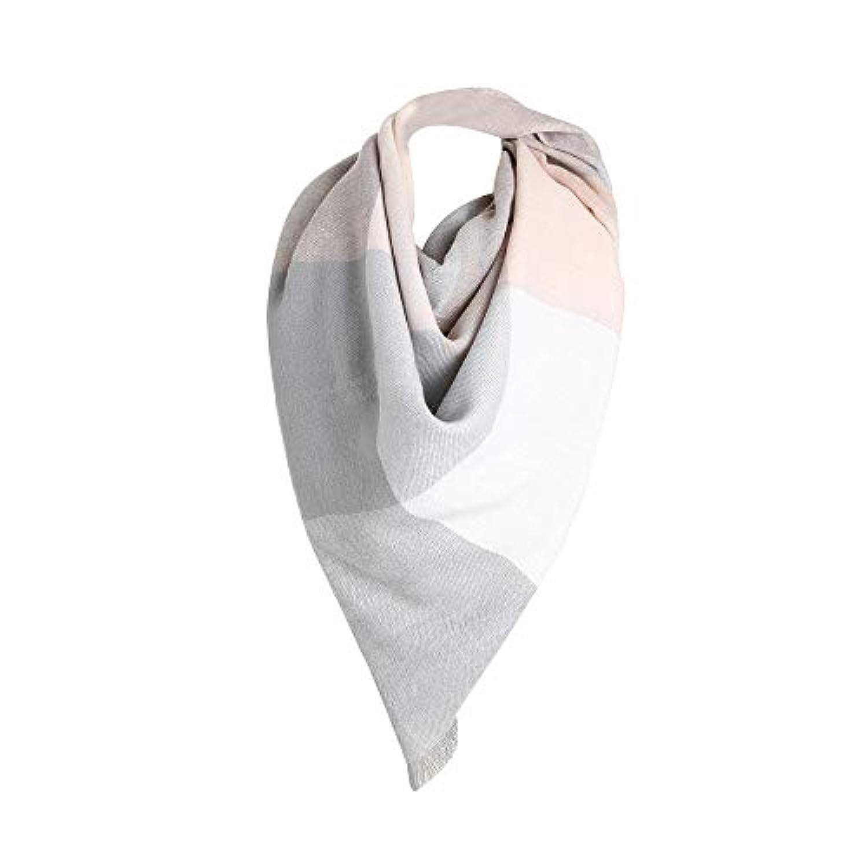 Coerni レディース スカーフ 冬用 暖かい 格子柄 ロング ショール ソフト スクエアネック スカーフ 55.1''*55.1'' グレイ DGH-5678I
