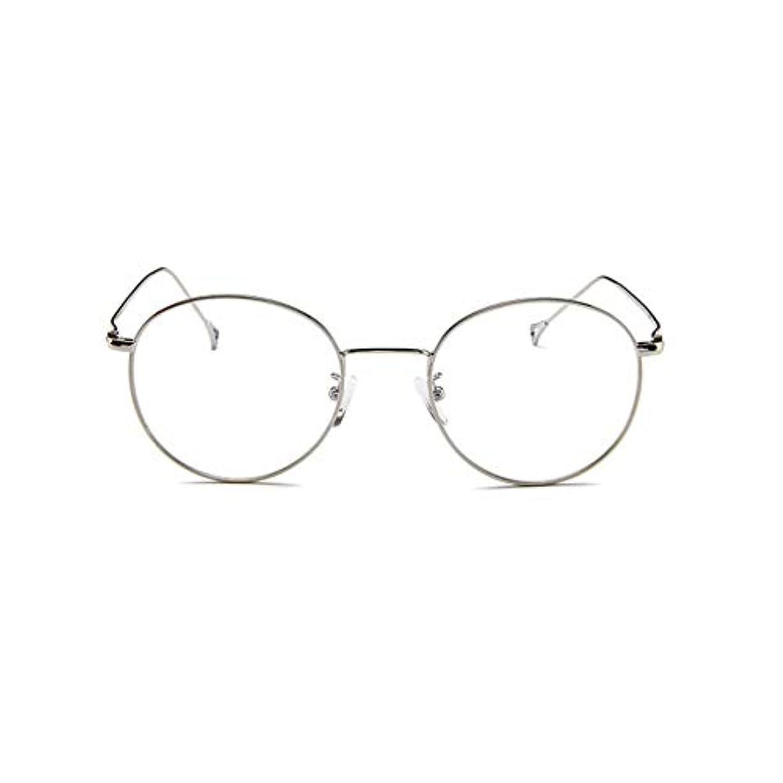 フライカイト精緻化韓国のメガネフレームの男性と女性のレトロフラットメガネメタルトレンディメガネファッション近視メガネフレーム-スライバー