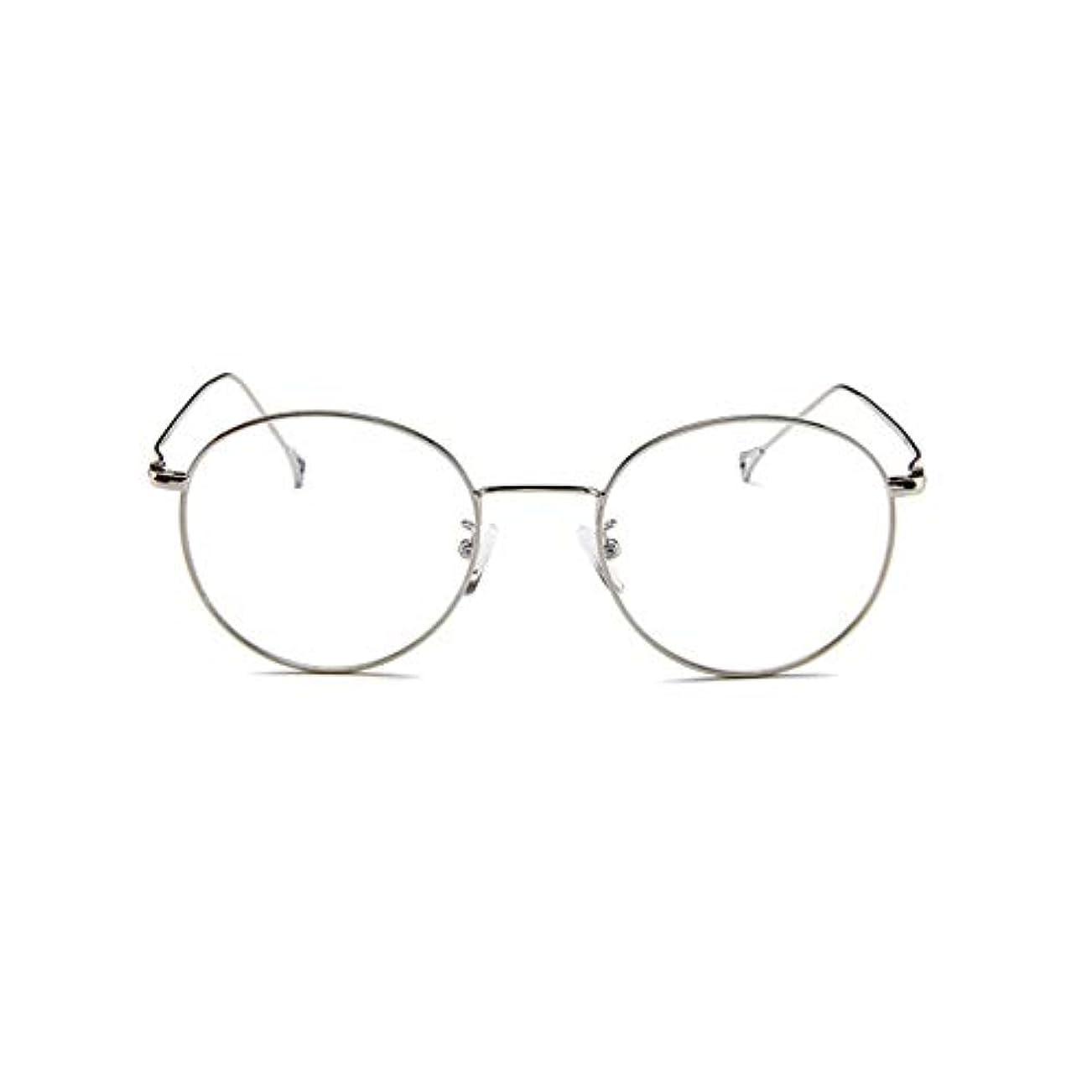 実際プロットジュニア韓国のメガネフレームの男性と女性のレトロフラットメガネメタルトレンディメガネファッション近視メガネフレーム-スライバー