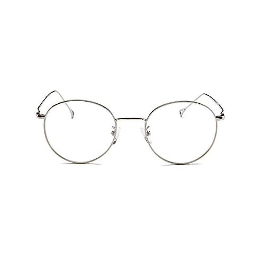 書く地域の成果韓国のメガネフレームの男性と女性のレトロフラットメガネメタルトレンディメガネファッション近視メガネフレーム-スライバー