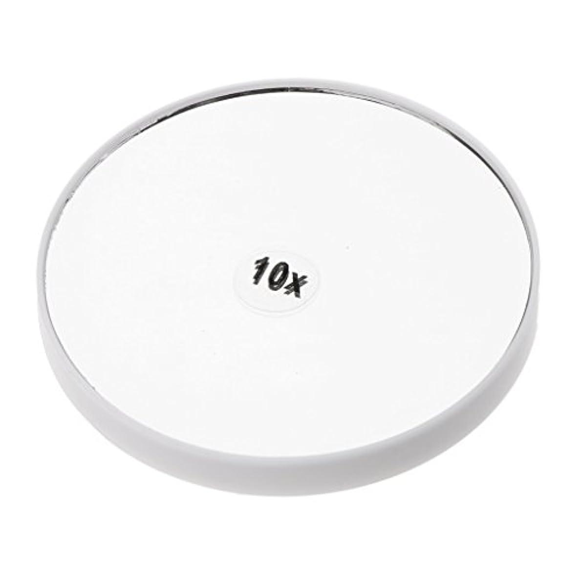 外向き機会本当にPerfk メイクアップミラー 化粧鏡 10倍拡大鏡 強力吸盤付き 円型 シンプルデザイン 耐久性 高品質 2色選べる - 白