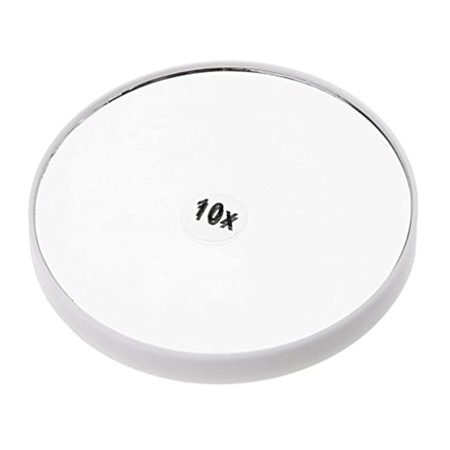 Perfk メイクアップミラー 化粧鏡 10倍拡大鏡 強力吸盤付き 円型 シンプルデザイン 耐久性 高品質 2色選べる - 白