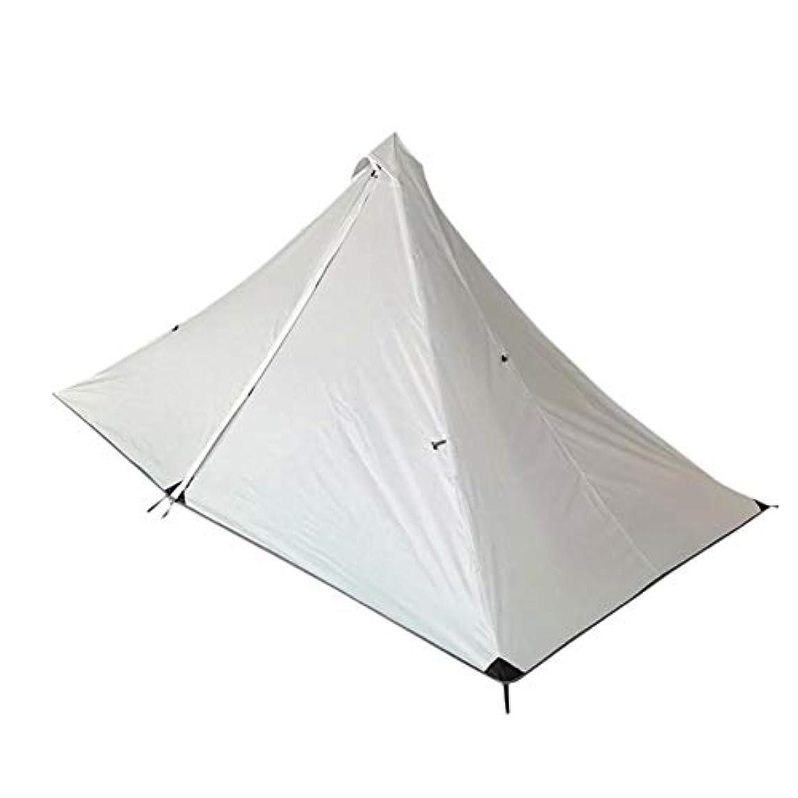 さておき提供する夫婦テント キャンプテント 非ポールピラミッドテント 超軽量 ポータブル 内部テント+外部テント+ウィンドロープ+グラウンド爪 1人用 2 色