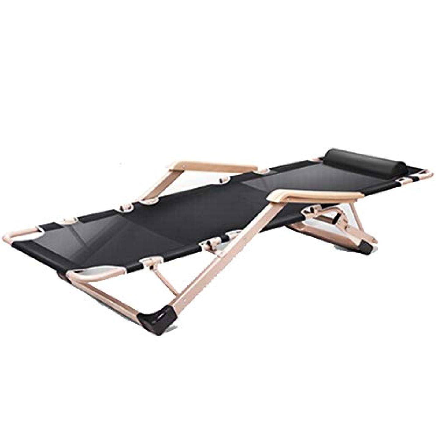 時気取らないナット折りたたみ式ベッドシングルオフィスリクライニングチェア大人用シンプルなポータブルキャンプベッドアンチロールオーバー (Color : Black)