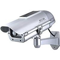 防犯カメラや防犯プレートと併用で効果UP ダミーカメラ 人感検知ソーラーバッテリー付 (OS-162F) シルバー LEDライトが自動で発光 人感センサー 防雨タイプ