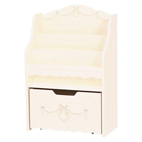 絵本ラック ( ブックスタンド 子供部屋家具 ) 幅60cm 木製 引き出し収納付き ホワイト ( 白 ) 【デザインファニチャー】