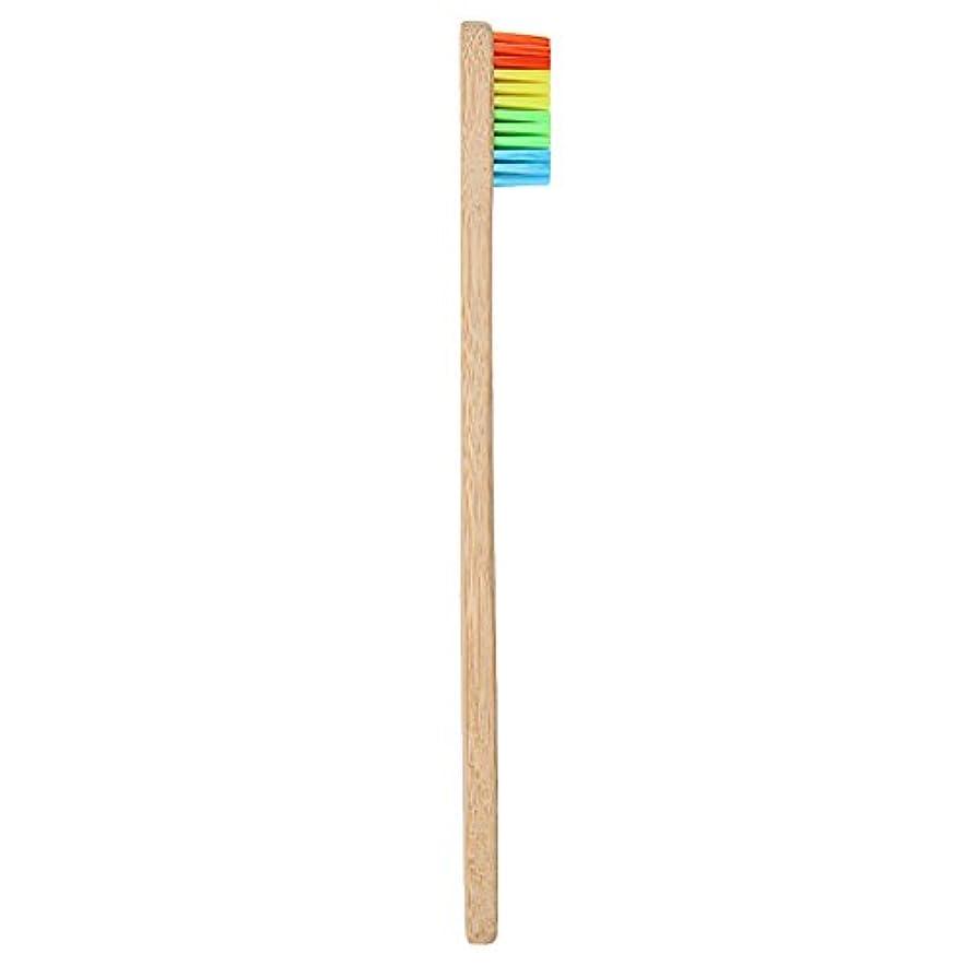 何よりも藤色入場Goshang 歯ブラシ 超極細毛 ソフト 虹色 バンブー製 環境保護