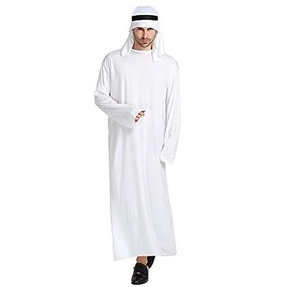 【ひげ12個付き】 アラブ 大富豪 石油王 コスプレセット 白 フリーサイズ (身長約165〜185cm)