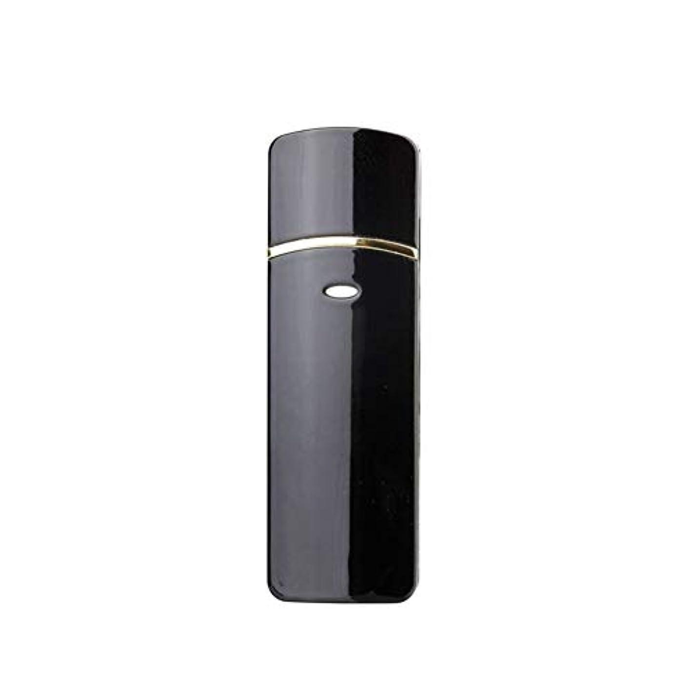 工夫する不一致書士顔のスプレーヤー加湿器美容保湿ミニ顔ミスト霧化まつげエクステンションUSB充電式コールドスプレー (Color : Black)