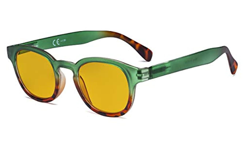 疎外する空白肺アイキーパー(Eyekepper)ブルーライトカット リーディンググラス(老眼鏡) 琥珀色レンズ ボストン型 PCメガネ 可愛い レーディスベッコウ柄 グリーンフレーム+1.25