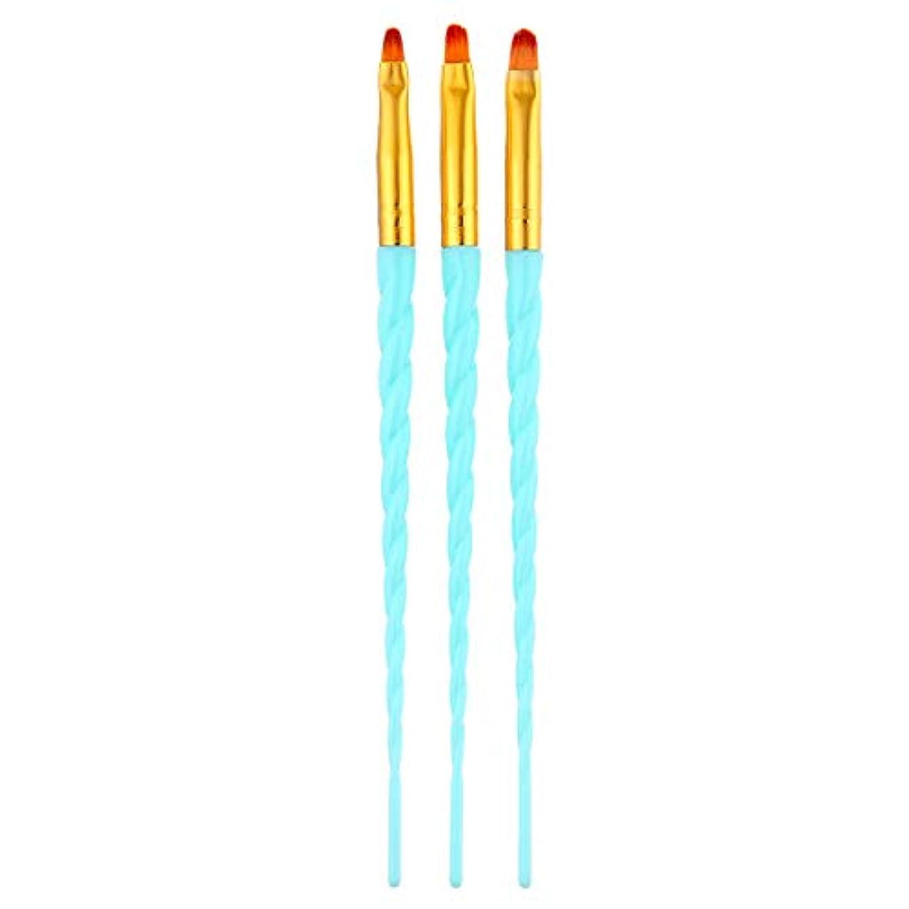 典型的なスリット竜巻CUHAWUDBA 3ピース/セット、ネイルアート、スレッド、アクリルuvジェルの延長ビルダー、絵画ブラシのパターンのデザイン、描画用ペン、マニキュアツール、ブルー