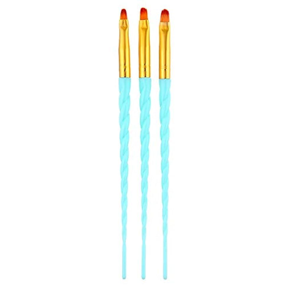 CUHAWUDBA 3ピース/セット、ネイルアート、スレッド、アクリルuvジェルの延長ビルダー、絵画ブラシのパターンのデザイン、描画用ペン、マニキュアツール、ブルー
