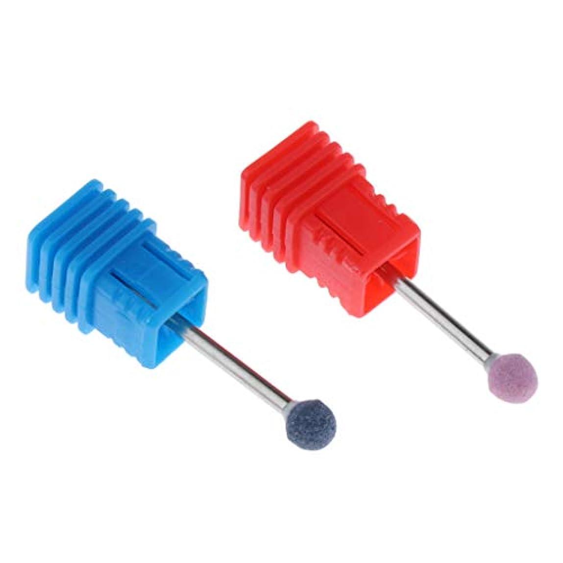 ペリスコープ調整可能プラットフォーム爪 磨き ヘッド 電動研磨ヘッド ネイル グラインド ヘッド アクリルネイル用ツール 2個 全6カラー - ピンク+ブルー