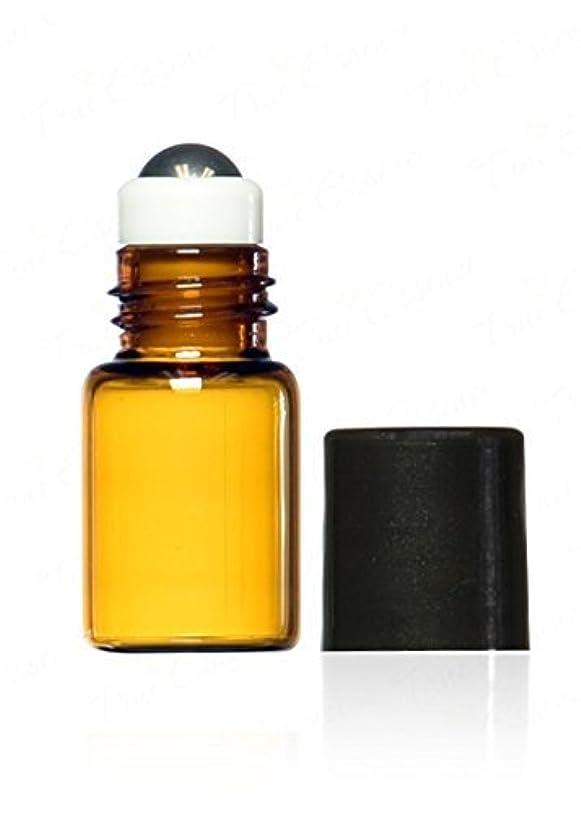 講師定数極端なTrue Essence 3 ml, 3/4 Dram Amber Glass Mini Roll-on Glass Bottles with Metal Roller Balls - Refillable Aromatherapy...