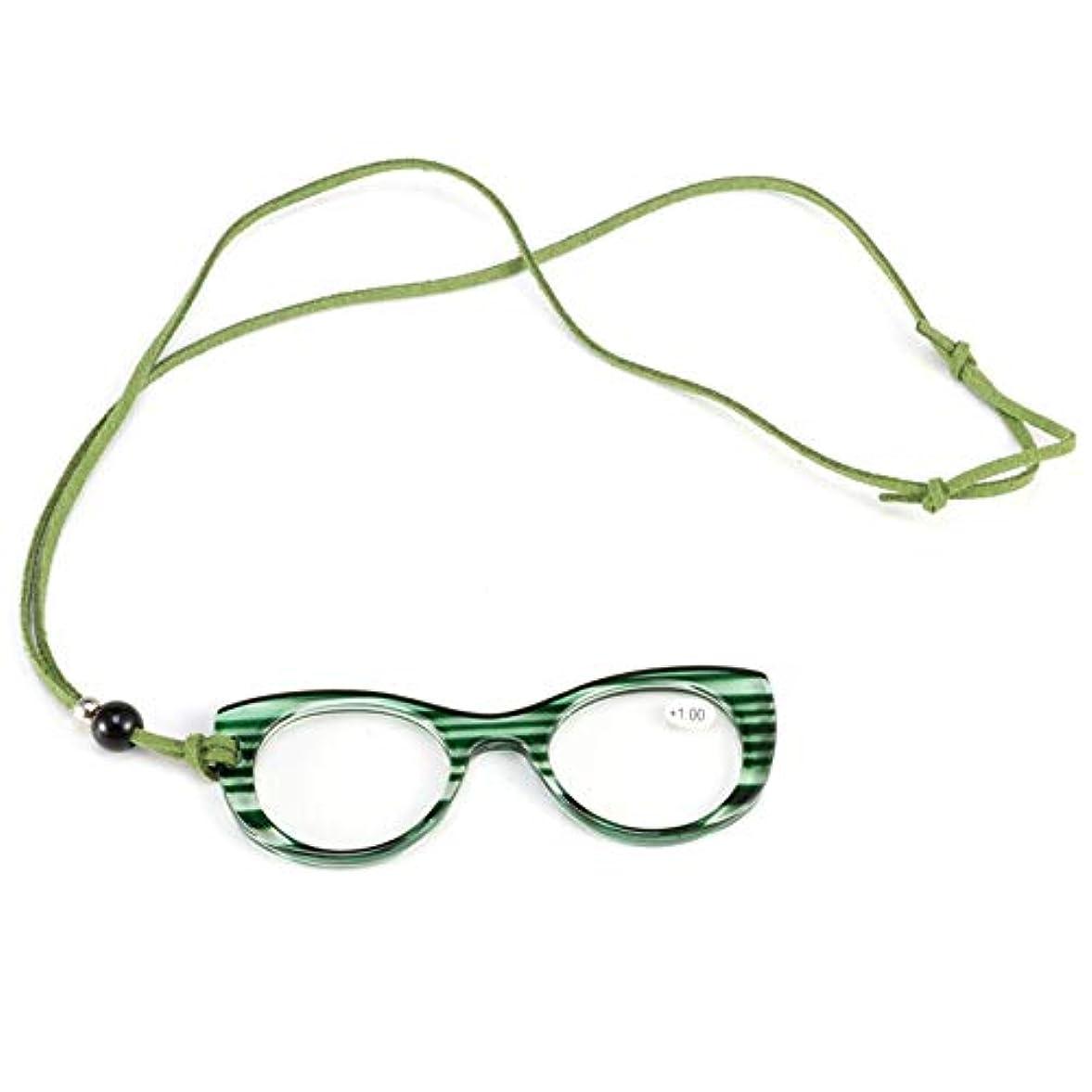予防接種ピューチューリップ吊り首の老眼鏡、ペンダントネックレスの老眼鏡、女性のファッションポータブル老眼鏡、キャットアイフルフレームメガネ